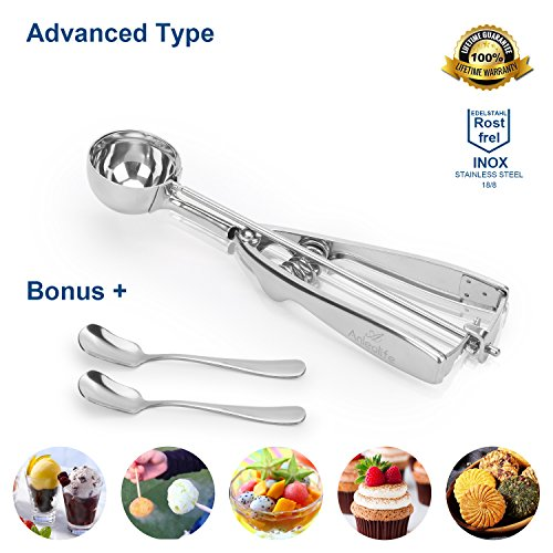 Anleolife 3-Tablespoon Stainless Scoop for Hard Ice Cream, Cookies Dough, Cupcake Batter, Bonus with 2 Spoons, LIFETIME - Ice Cupcakes Cream