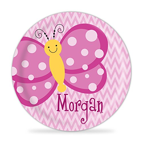 Butterfly Plate - Bright Pink Butterfly Melamine Personalized Plate