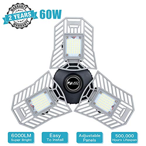 LED Garage Lights Deformable LED Garage Ceiling Lights 6000 Lumen 60W CRI 80 Led Shop Lights for Garage with 3 Adjustable Panels Led Garage Lighting (No Motion Activated)