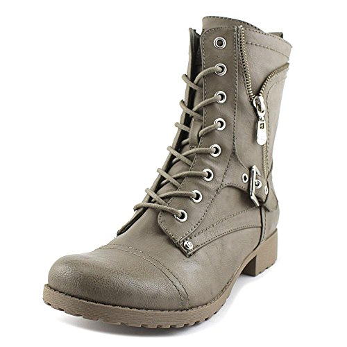 Guess Womens Brylee Grey Leather Combat Style Fashion Boots 6 - Guess Grey Boots