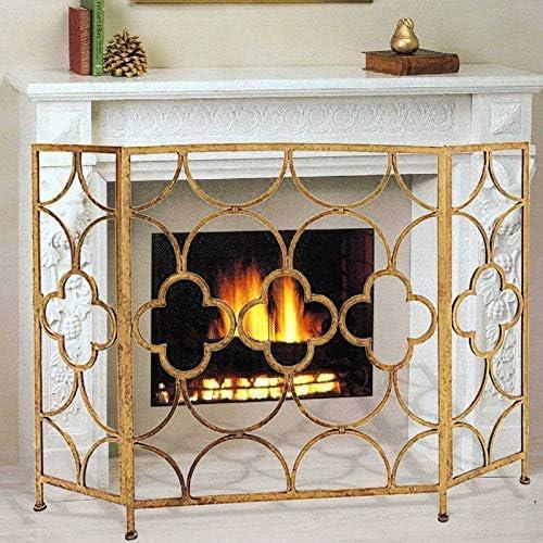 暖炉のスクリーン、3-パネルと錬鉄、無料立ちスパークガード、耐久性に優れたフレームとメタルメッシュ - 23X86X90cm - ゴールド