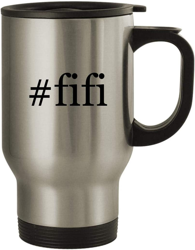 #fifi - Stainless Steel Hashtag 14oz Travel Mug, Silver
