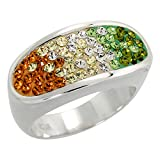 Sterling Silver Oval Peridot - Citrine Rainbow CZ Ring 3/8 inch, size 7