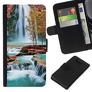 All Phone Most Case / Oferta Especial Cáscara Funda de cuero Monedero Cubierta de proteccion Caso / Wallet Case for Samsung ALPHA G850 // Waterfall Africa