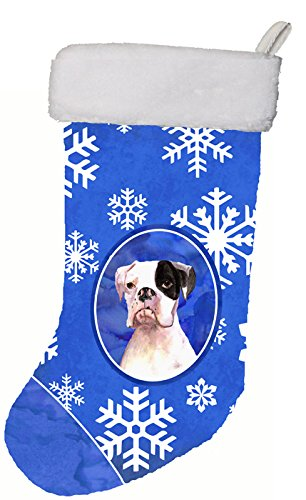 Caroline's Treasures Cooper Winter Snowflakes Boxer Christmas Stocking, 11 x 18