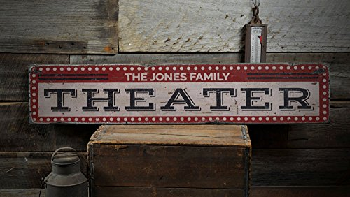 Theater Wood Sign, Custom Family Name Film Lover Room Sign, Movie Room Drive-In Home Decor – Rustic Hand Made Vintage Wooden Sign – 7.25 x 36 Inches For Sale