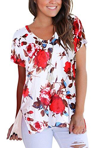 A Tee 01 Manica Scollo bianco Dasbayla Donna Magliette T con V Shirt Corta Basic 7BPBzq