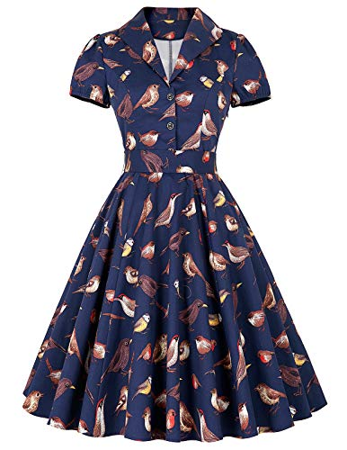 Womens Short Sleeve Vintage Dress Knee Length Swing Dress Dark Blue(S) BP161]()