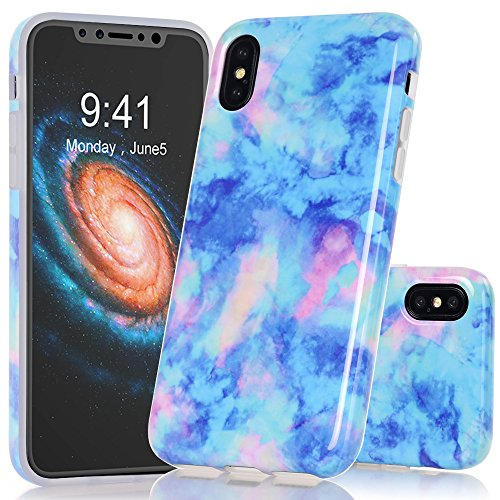 BAISRKE iPhone X Case, Light Blue Marble Creative Design Case Slim Flexible Soft Silicone Bumper Shockproof TPU Rubber Glossy Skin Cover for iPhone X XS [5.8 inch] ()