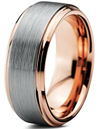Tungsten Wedding Band Ring 8mm for Men Women Comfort Fit 18K Rose Gold Plated Beveled Edge Brushed Polished Lifetime Guarantee