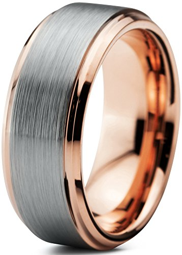 Stylish Two Tone Wedding Band (Tungsten Wedding Band Ring 8mm for Men Women Comfort Fit 18K Rose Gold Plated Plated Beveled Edge Brushed Polished Size 10)