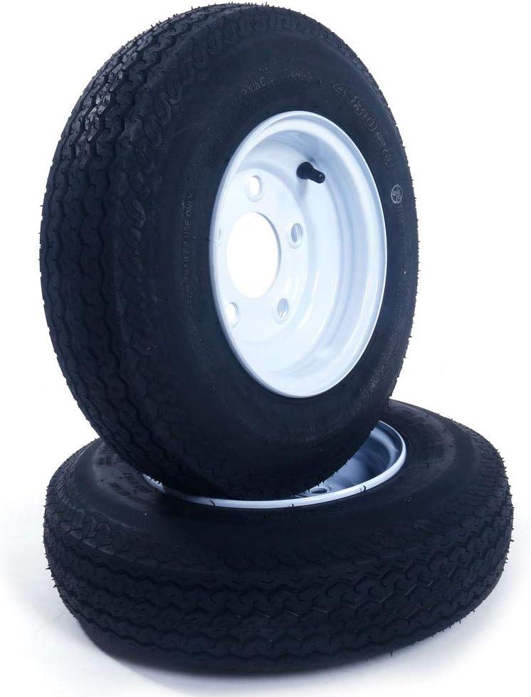 "2 Tralier Tires & Rims 4.80-8 480-8 4.80 X 8 8"" Load Rang B 5 Lug Hole Bolt P819 Wheel White Spoke"
