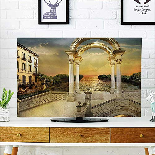 Auraisehome Protect Your TV Bridge Gateway with Ornaments Enchanted Woods Fairytale Land White Light Yellow Green Protect Your TV W36 x H60 INCH/TV 65