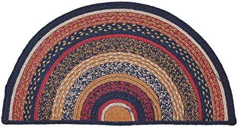 VHC Brands 27498 Primitive Flooring-Stratton Blue Half Circle Jute Rug, 16.5 x 33, Navy