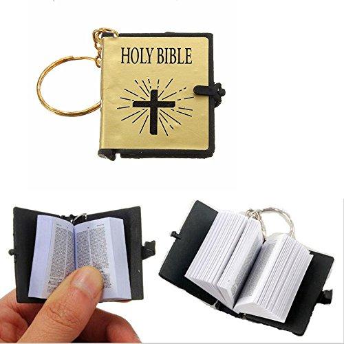 Mini Gold Holy Bible Religious Keychain
