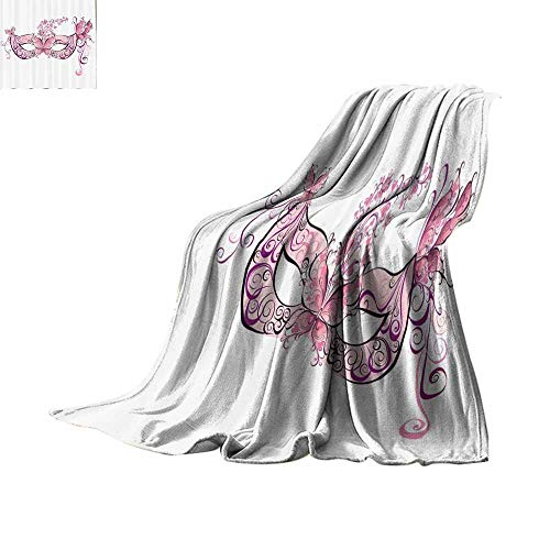 Luckyee Lightweight Blanket Masquerade Decorations Collection,Butterfly Masks for a Masquerade Italian Fantasy Floral Design Artwork,Pink Purple White Lightweight E x tra Big Bed or Couch 62