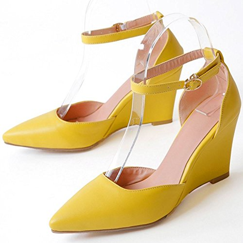RAZAMAZA Mujer Moda Correa de Tobillo Tacon de Cuna Zapatos Verano Cerrado Sandalias Amarillo