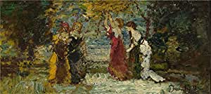 Oil painting 'Adolphe Monticelli Subject Composition (1) ' printing on polyster Canvas , 20 x 45 inch / 51 x 114 cm ,the best Bar decoration and Home gallery art and Gifts is this Best Price Art Decorative Canvas Prints