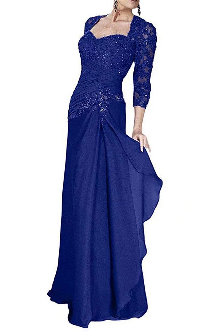 d45bf33650fa Women's Lace Beaded Applique Prom Evening Dresses 3/4 Sleeve Mother of Bride  Dresses Royal Blue 20 Plus