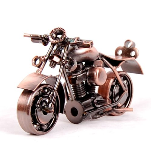 Retro Motorcycle Model, Metal Material, Electrolytic Plating Finish (Bronze)