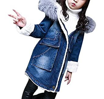 Girls Cute Denim Warm Thicken Lamb Cashmere Lined Trench Coat Shearling Jacket with Faux Fur Hooded 110 Blue