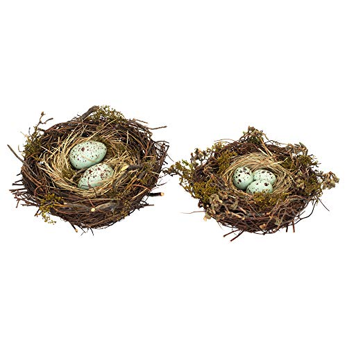 Melrose Set of 2 Robin's Nests with Eggs, -