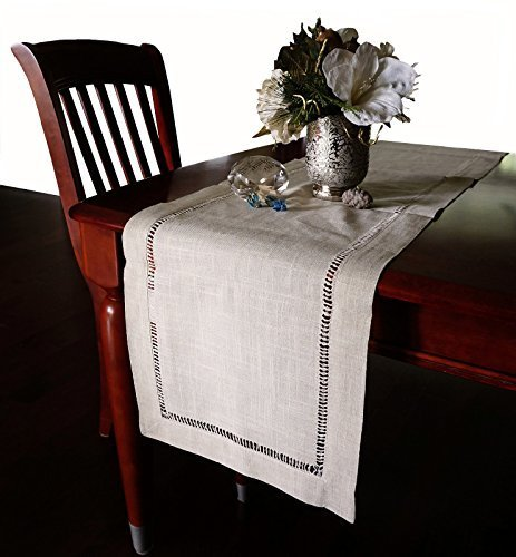 Beautiful Hemstitched Table Runner Quality Natural Tablecloth 90  Long by K-Cliffs