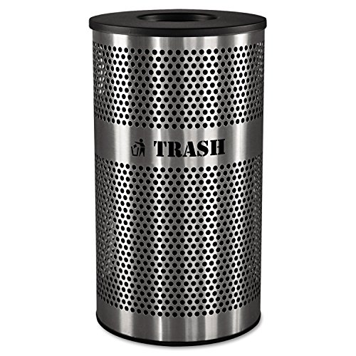(Ex-Cell Kaiser VCT-33 PERF SS Venue Collection Outdoor Perforated Stainless Steel Trash Receptacle, 33 Gallon Capacity, 21