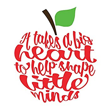 """Set of 4 It Takes a Big Heart Apple Decal 2.8"""" x 2.5"""""""