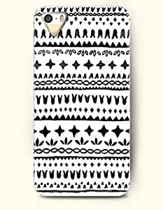 OOFIT Aztec Indian Chevron Zigzag Native American Pattern Hard Case for Apple iPhone 5 5S ( iPhone 5C Excluded ) ( Simple Black Aztec Tribal Pattern )
