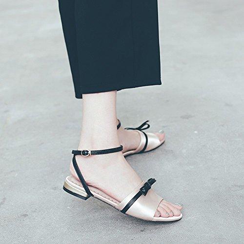 Palabra Se Plana Pescado 35 Moda de DHG Zapatos Desnudo Arco oras Elegante con Cabeza Salvaje d76q0Y