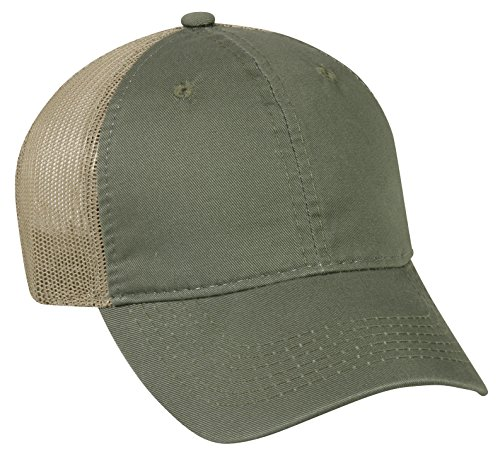 Outdoor Cap Garment Washed Meshback Cap, Olive/Tan, One Size