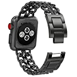 NO1seller Top Stainless Steel Metal Cowboy Style Watch Band Bracelet Strap for Apple Watch Series 3, Series 2, Series 1, Small and Large Size, For Women and Men,38mm - Black