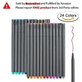 #10: 24 Fineliner Color Pens Set, Taotree Fine Line Colored Sketch Writing Drawing Pens for Bullet Journal Planner Note Taking and Coloring Book, Porous Fine Point Pens Markers