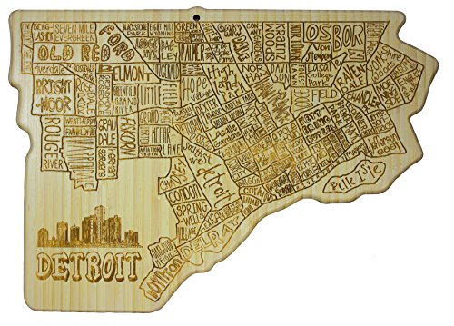 Totally Bamboo City Life Serving Board, Detroit, 100% Bamboo Board for Serving and Entertaining