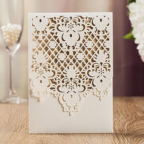(Jofanza Vertical Wedding Invitations with Ivory Laser Cut Hollow Floral Lace Sleeve Invite Cards for Bridal Shower Engagement Birthday Anniversary Dinner (50 Pieces))