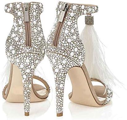LIURUIJIA Tassel White Plus Rhinestone High Heel Wedding Sandals Stiletto with Rhinestones and Feathers Womens Crystals Summer Heels ShoesGG-1622-3
