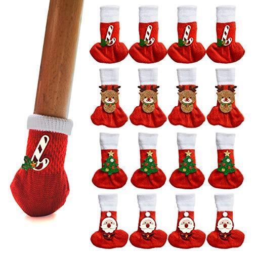 16PCS Christmas Chair Socks, High Elastic Furniture Socks Fit Girth from 1.55