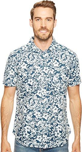 Agave Denim  Men's Isla Vista Bloom Linen Short Sleeve Button Up Indigo Rinse Button-up Shirt
