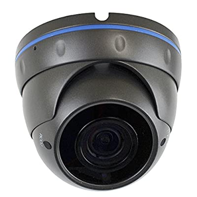 GW Security H.265 POE IP Outdoor Indoor Security Camera HD IP 5MP (1920p/1080p) Dome Camera with 2.8-12mm Varifocal lens (Grey) from GW Security Inc