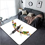 Vanfan Design Home Decorative 374680855 lovebirds and cockatiel playing in front of white background Modern Non-Slip Doormats Carpet for Living Dining Room Bedroom Hallway Office Easy Clean Footcloth