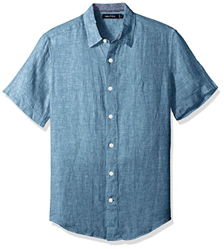 Nautica Men's Short Sleeve Classic Fit Solid Linen Button Down Shirt, Cargo Blue, Small