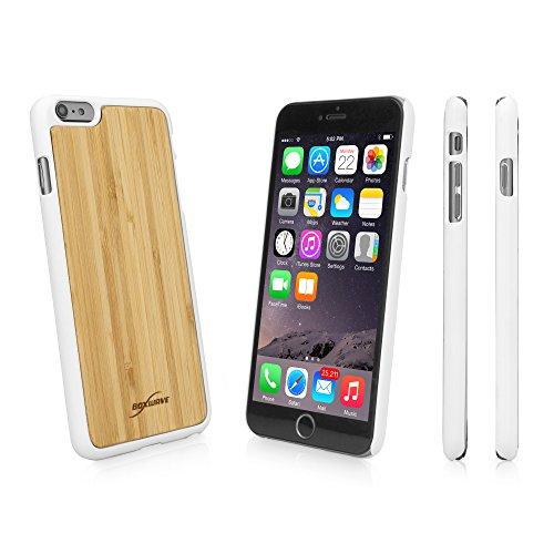 BoxWave Coque rigide pour Apple iPhone 6 Plus en bois de bambou avec bords en plastique Durable Finition mate veloutée Hiver (Blanc)