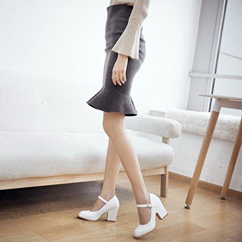 Ancho Mujer Court Tacon Blanco Tobillo Bombas Janes Al Shoes Mary Coolcept Zapatos Moda TqgP66