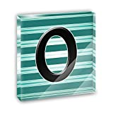 Letter O Initial Black Teal Stripes Acrylic Office Mini Desk Plaque Ornament Paperweight