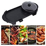 2 In 1 Electric Skillet Portable BBQ Grill Pan with Hot Pot Indoor Outdoor Teppanyaki Grill Cookware Separate Dual Temperature Control US Plug 110V