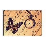Best Life Clock Butterfly Poster 20x30 Inch Art Print Wall Paper