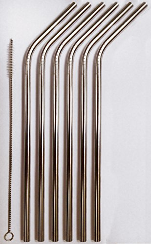(Reusable Straws - Stainless Steel Drinking - Set of 6 2 Cleaners - Eco Frie...)