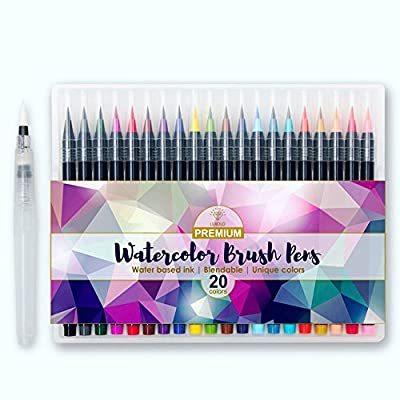 Watercolor Brush Pens Set - 20 Color | Best Brush Tip Art Markers Set for Adults and Children | Perfect for Drawing, Calligraphy, Coloring Books and Writing Water Color Ink | LUXULO