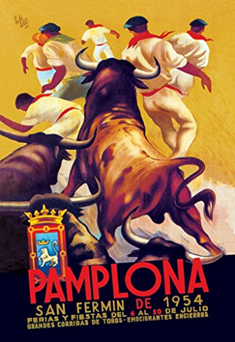 ArtParisienne Pamplona San Fermin de 1954 Ferias y Fiestas del 6 al 20 de 20x30 Poster Semi-Gloss Heavy Stock Paper Print from ArtParisienne
